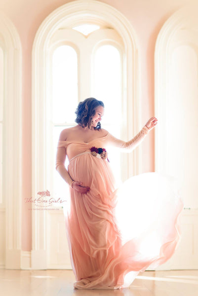 Carmen blush chiffon maternity gown with lining closed front and off shoulder long sleeves,maternity dress,wedding dress,boho dress,photo props,senior props,prom dress,party dress,bridal dress,flower girl