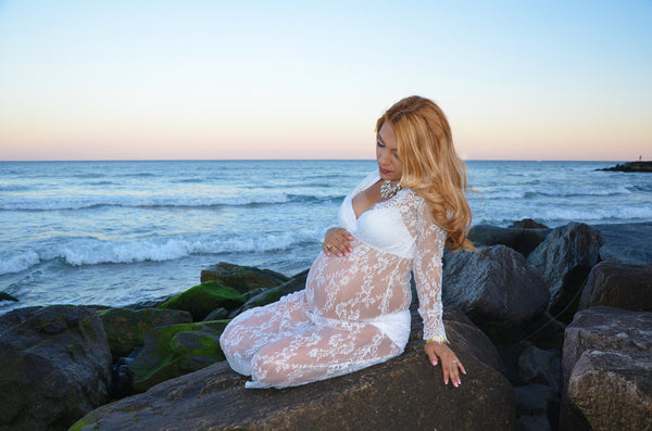 Brava white Lace Maternity Dress - ready to ship,shyer dress, sheer gown, boudoir,photo props,senior props,robe