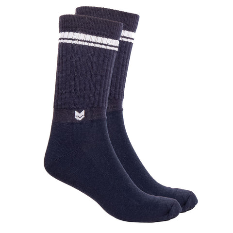 Merino Wool Crew Socks Navy