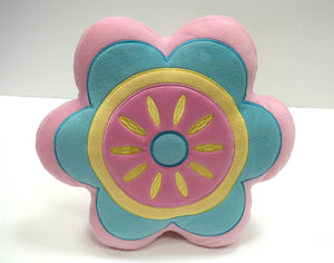 Flower Filled Childrens Cushion Pink