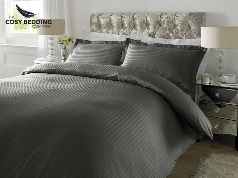 Sateen Stripe Luxury Bedding Set Steel Grey