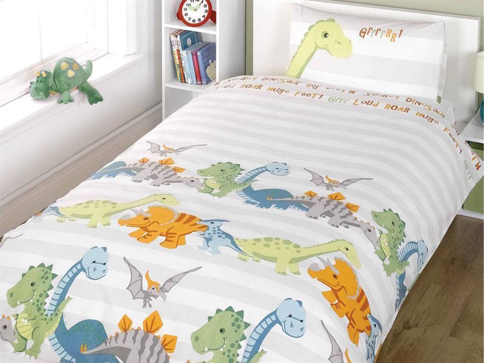 Dinosaur Childrens Bedding Set Natural