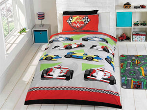 Racing Cars Childrens Bedding Set Blue