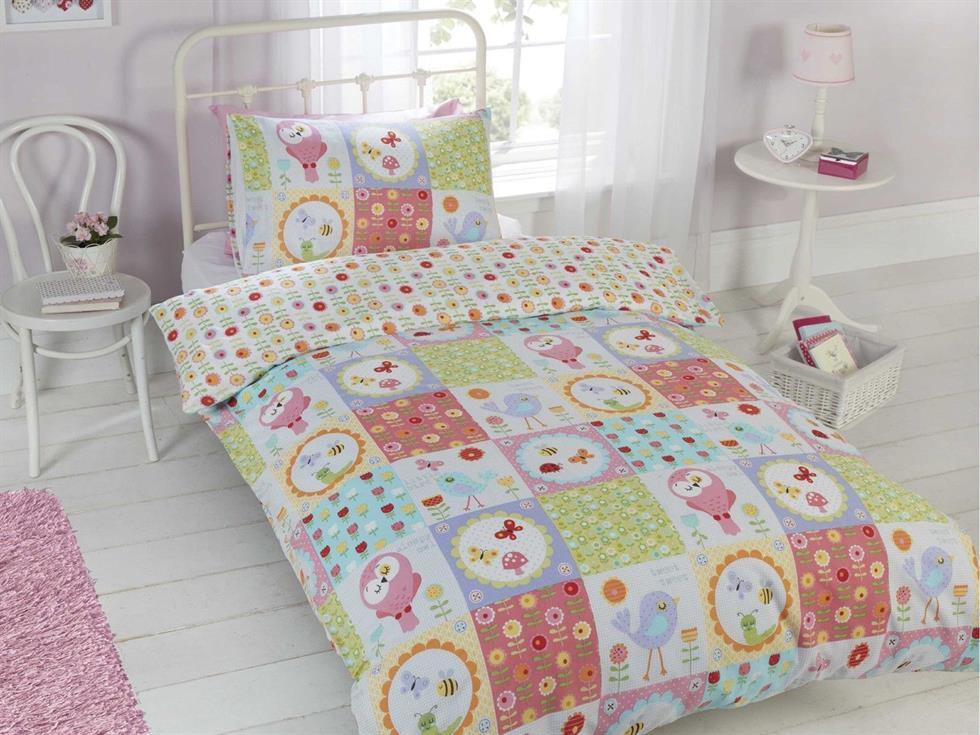 Birdie Patchwork Childrens Bedding Set Multi