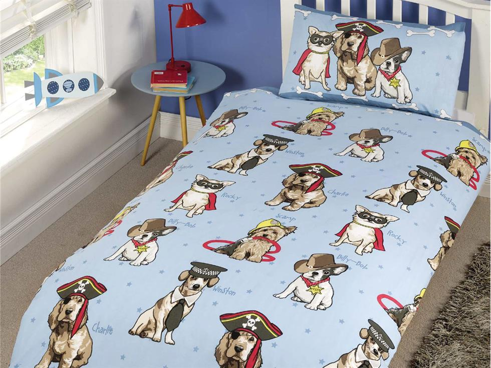 Doggies Childrens Bedding Set Blue