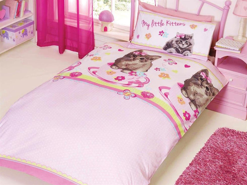 My Little Kittens Childrens Bedding Set Pink