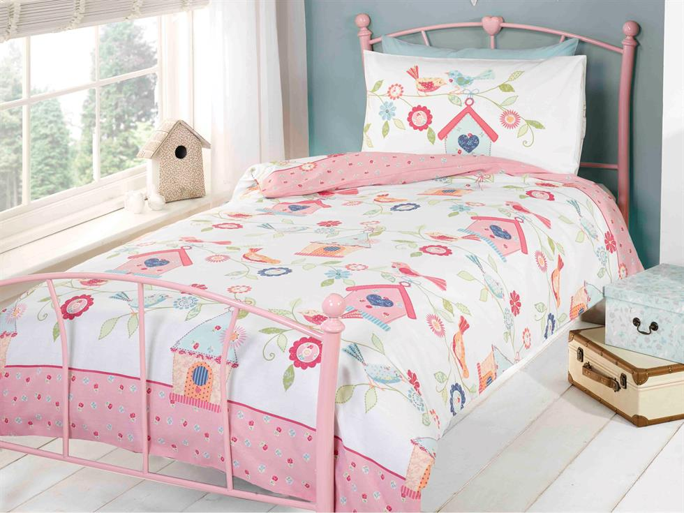 Bird Houses Childrens Bedding Set Pink