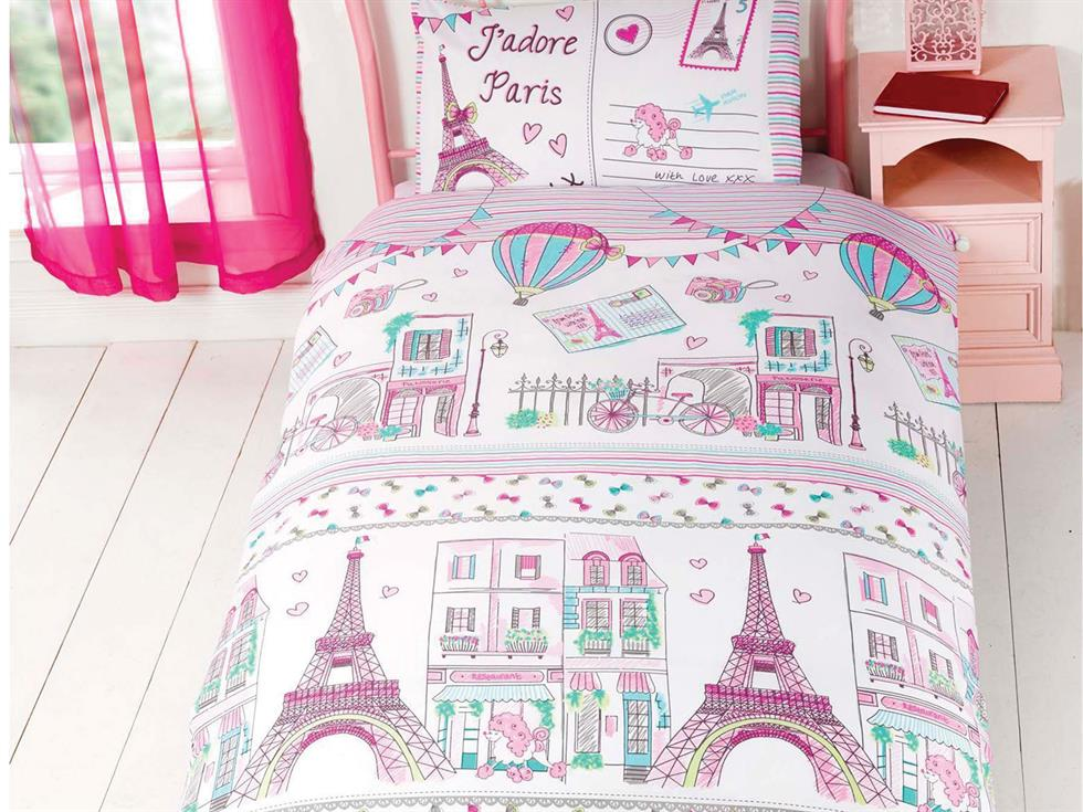J`adore Paris Childrens Bedding Set Pink