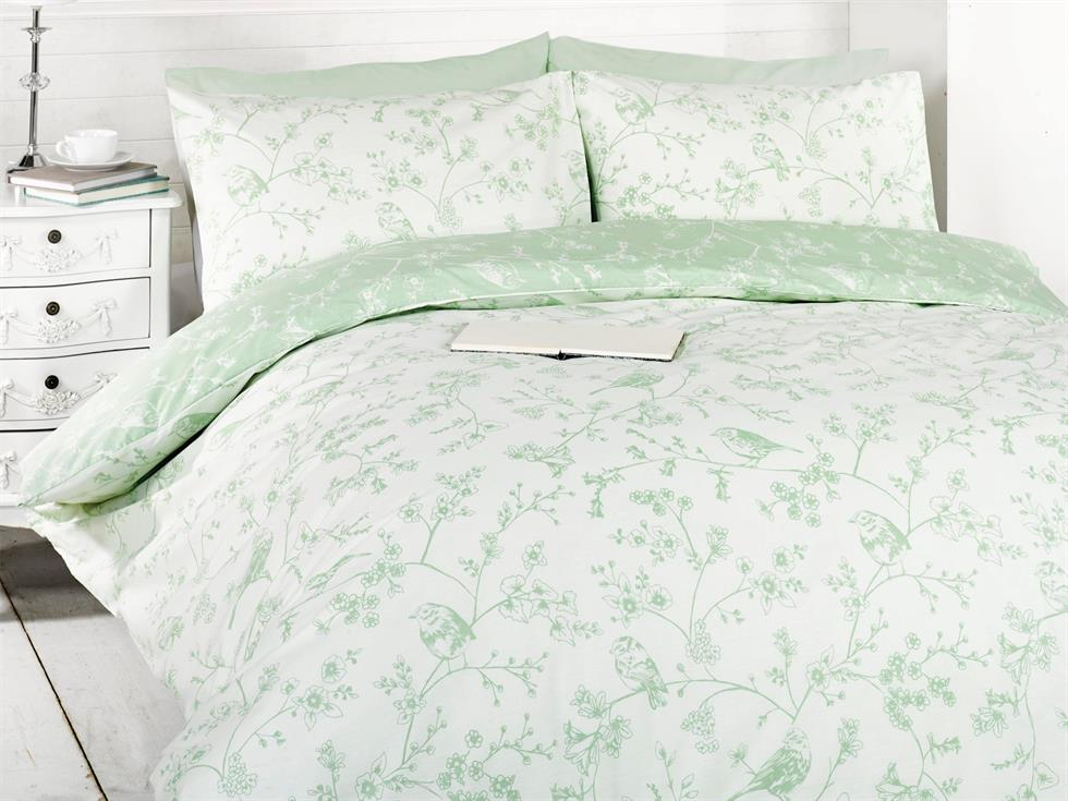 Bird Toile Bedding Set Green