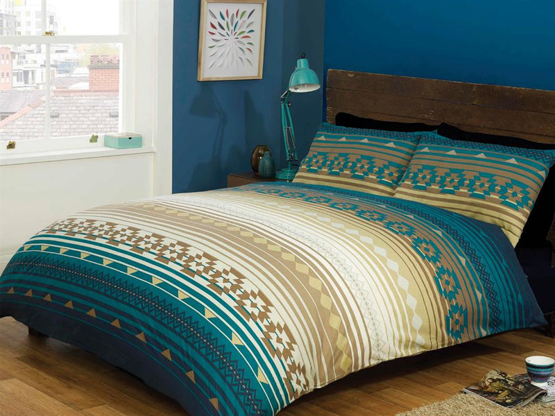 Kilim Stripe Bedding Set Blue