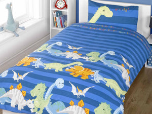 Dinosaur Childrens Bedding Set Blue