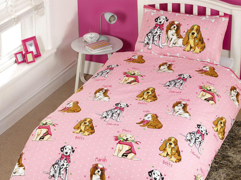 Doggies Childrens Bedding Set Pink