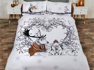 Stag & Friends Christmas Bedding Set Gold