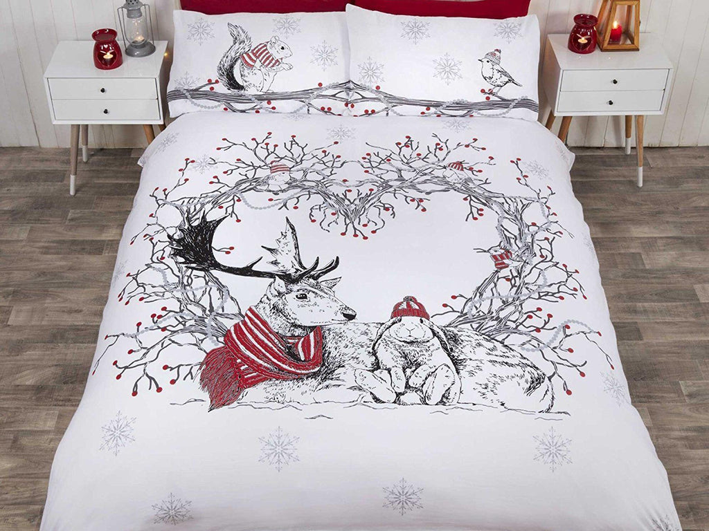 Stag & Friends Christmas Bedding Set Red
