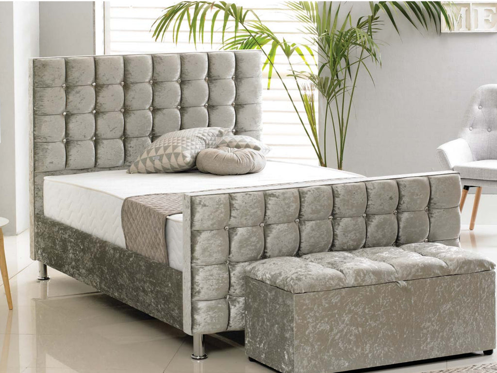 Kensington Luxury Bed Frame in Crushed Silver – The Cosy Bedding Company