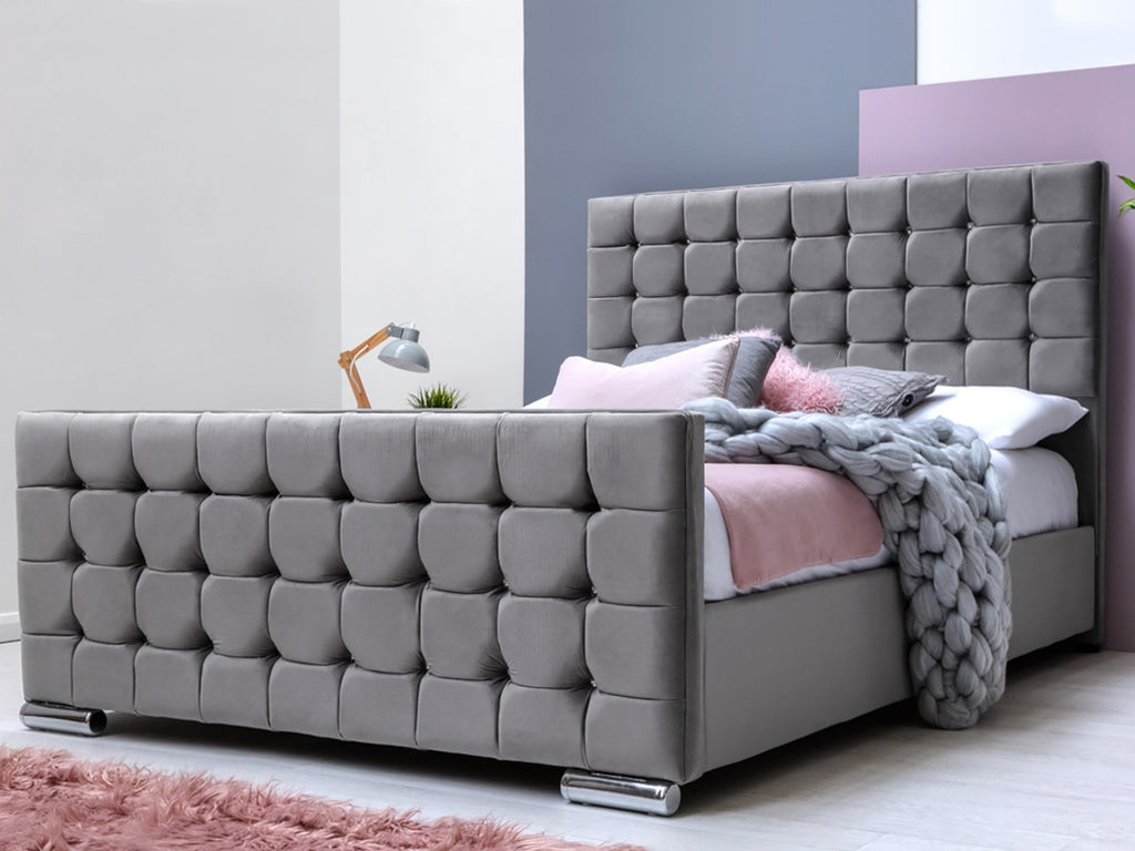 Cube Luxury Bed Frame in Plush Grey