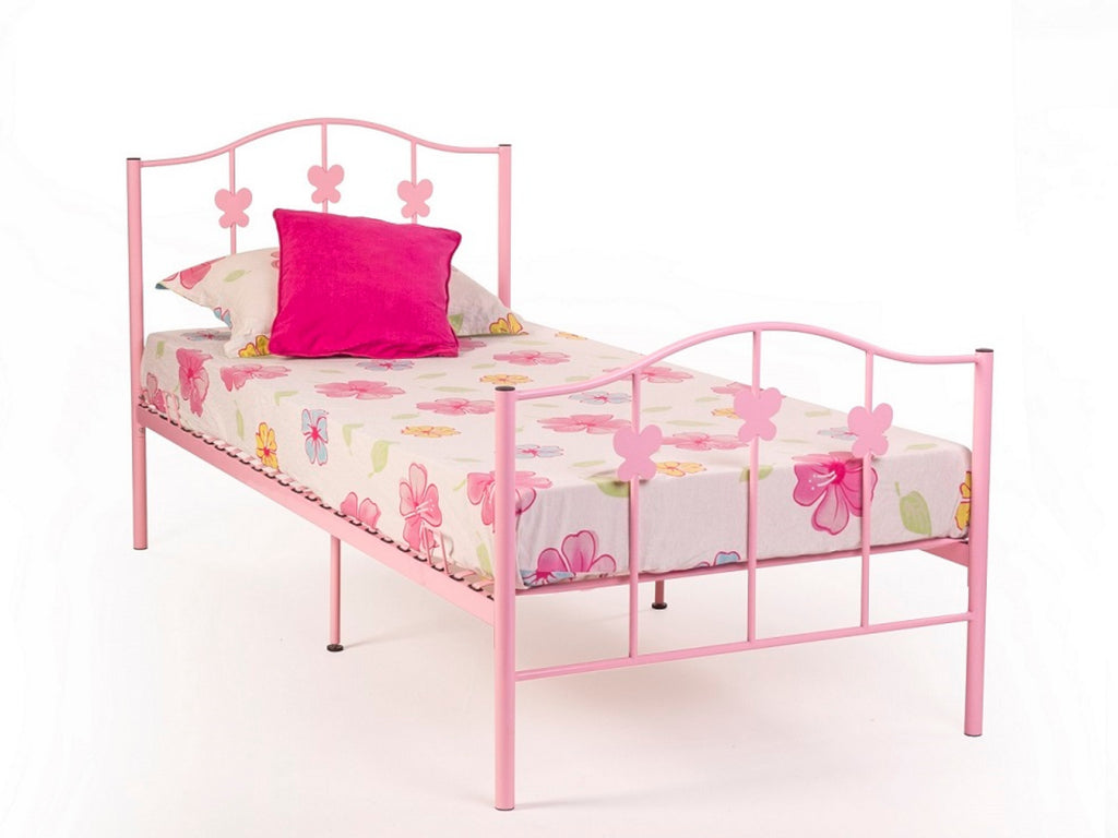 Butterfly Metal Bed Frame in Gloss Pink