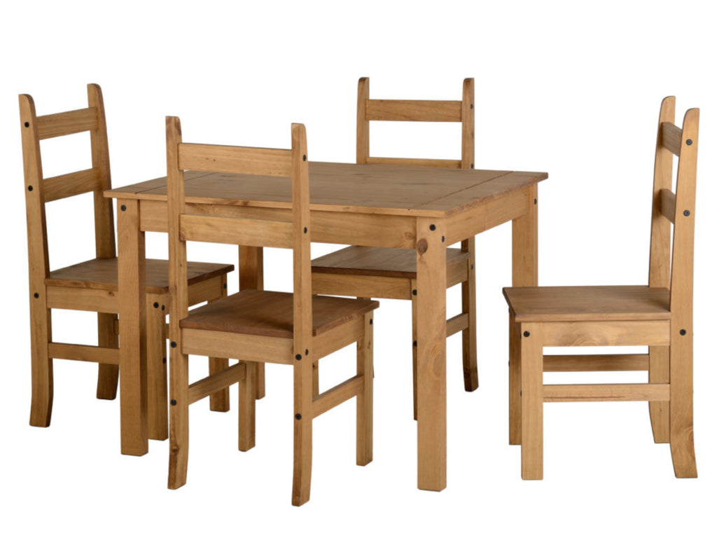 Corona Budget 4 Seat Dining Set in Distressed Waxed Pine