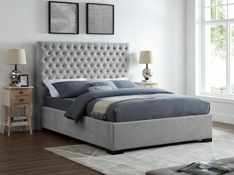 Cavendish Bed Frame in Soft Grey Velvet