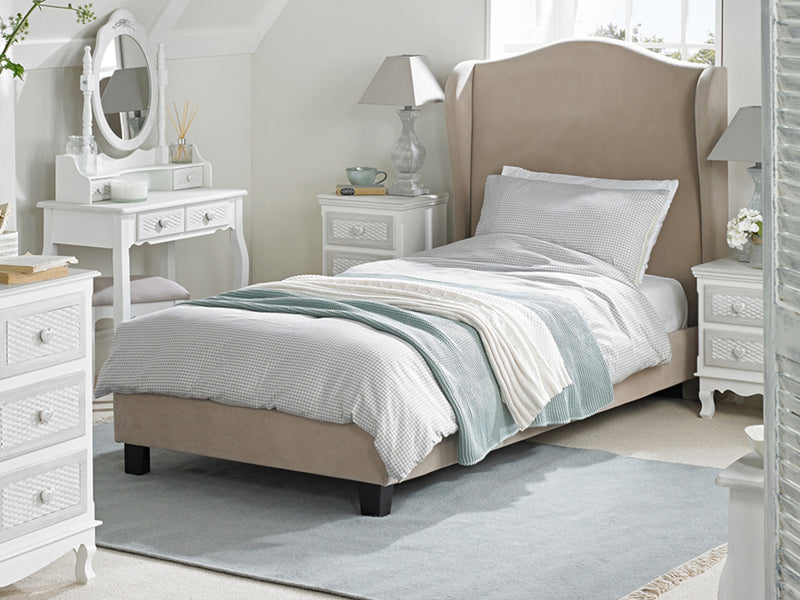 Chateaux Wing Bed  Frame in Soft Beige