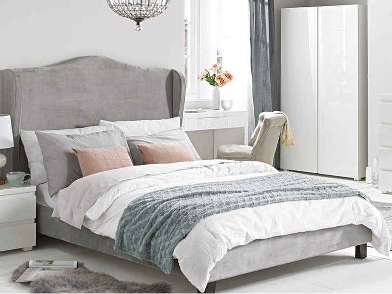 Chateaux Wing Bed  Frame in Silver