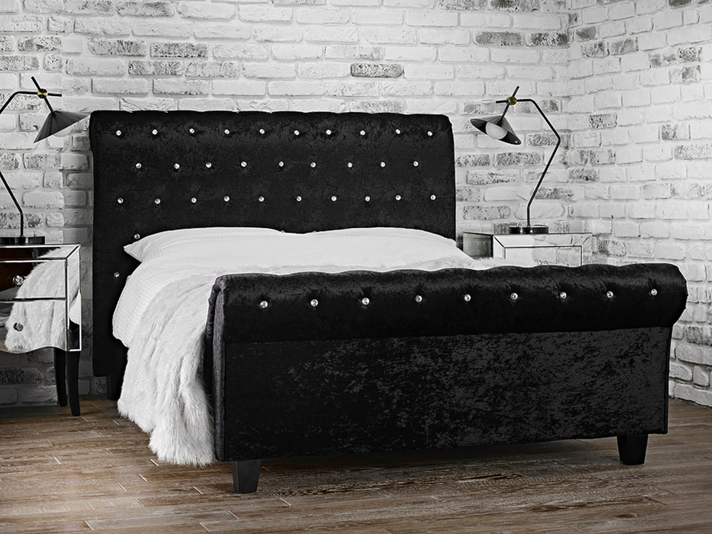 Isabella Bed Frame in Crushed Velvet Black
