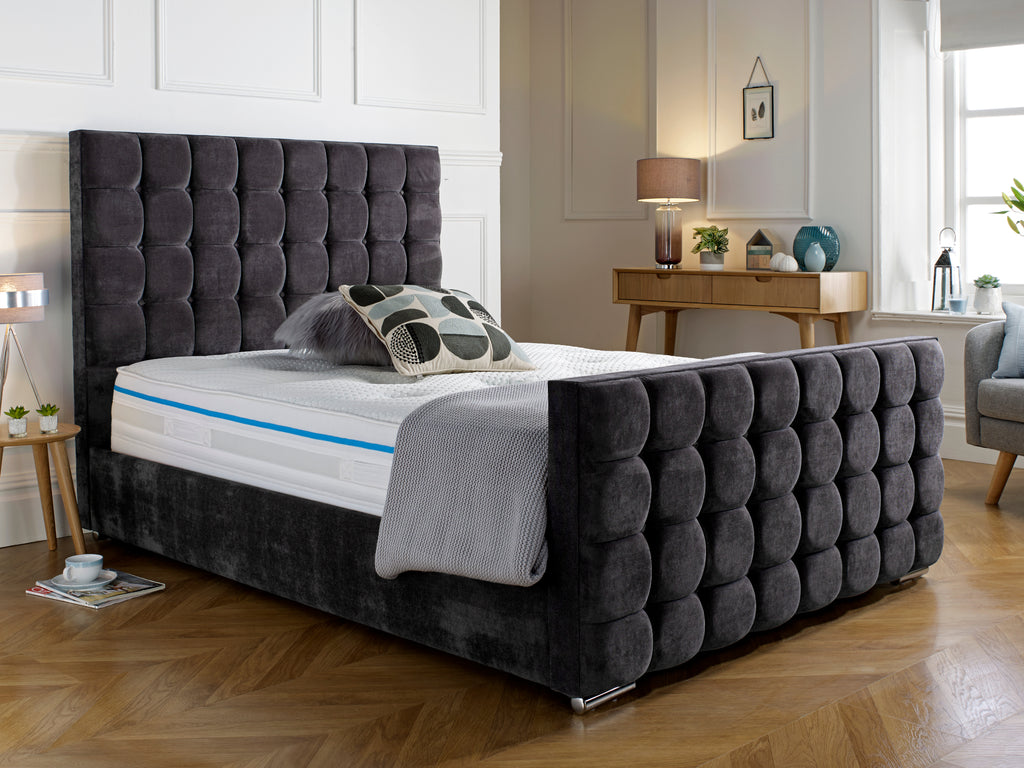 Cube Luxury Bed Frame in Coniston Charcoal