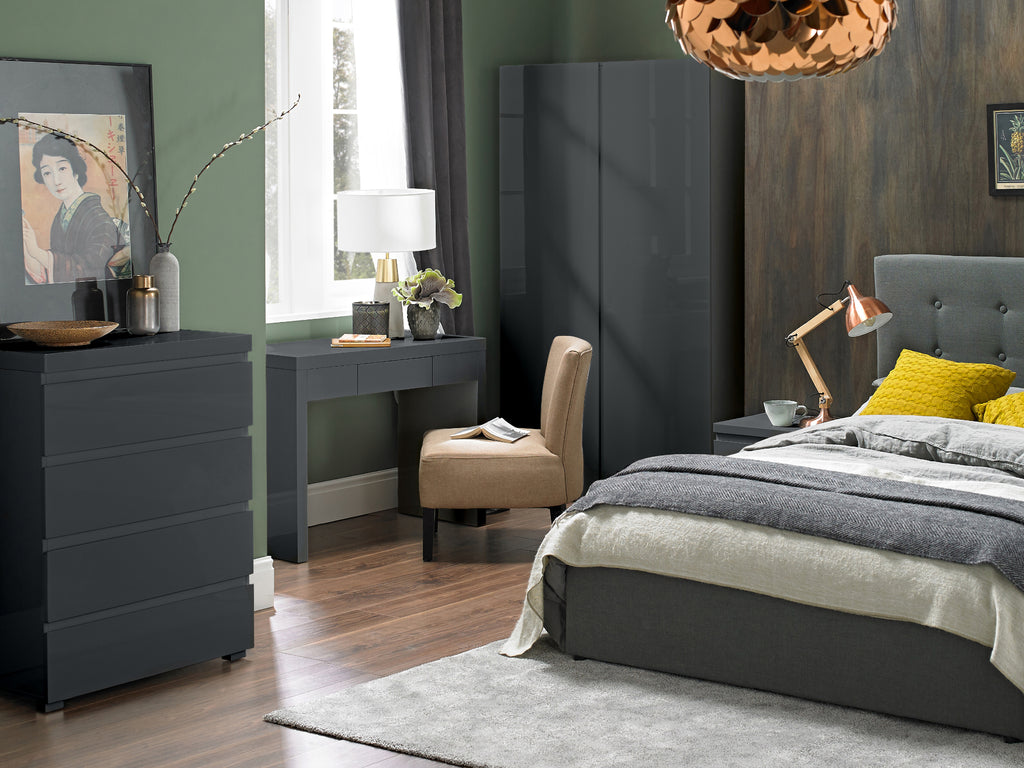 Puro Bedroom Furniture in Charcoal Gloss