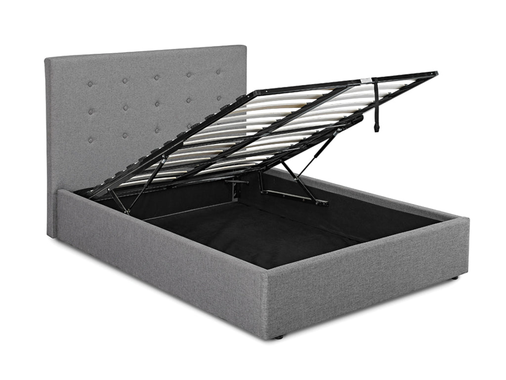 Lucca Ottoman Storage Bed Frame in Soft Grey