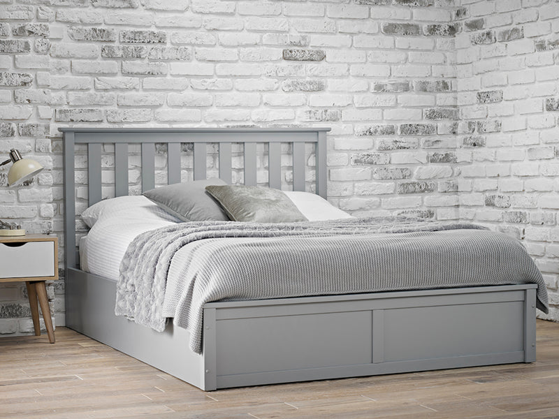 Oxford Wooden Ottoman Storage Bed in Grey