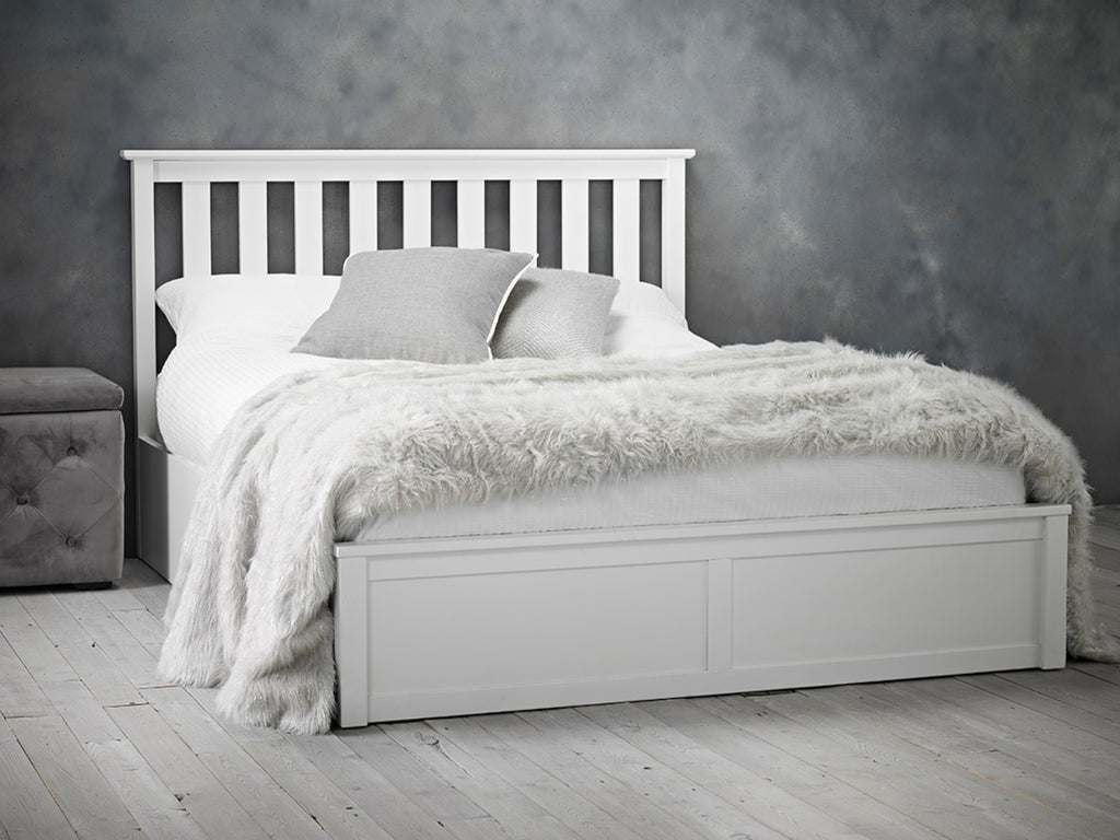 Oxford Wooden Ottoman Storage Bed in White