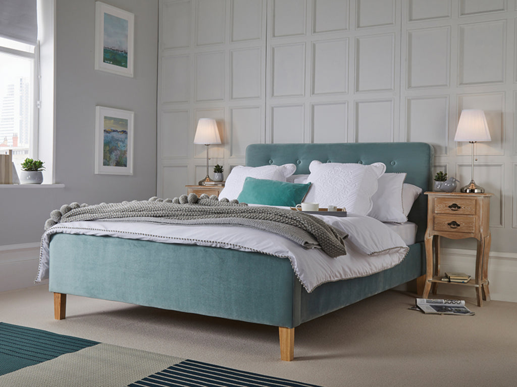 Pierre  Bed Frame in Velvet Aqua