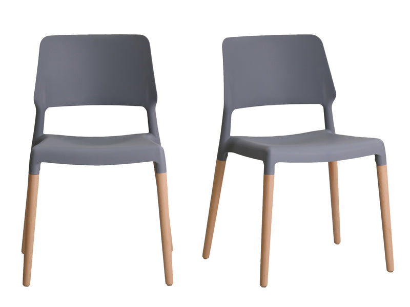 Riva Dining Chair in Grey (2 Pack)