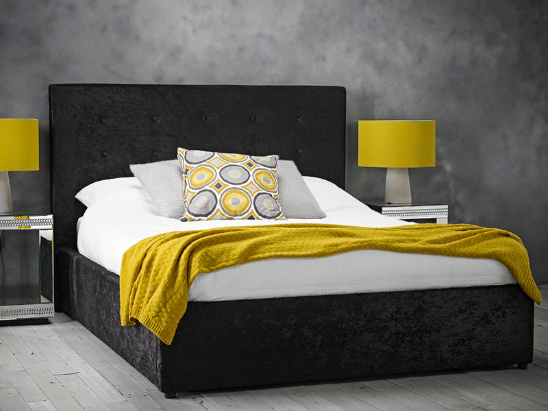 Rimini Ottoman Storage Bed Frame in Crushed Black