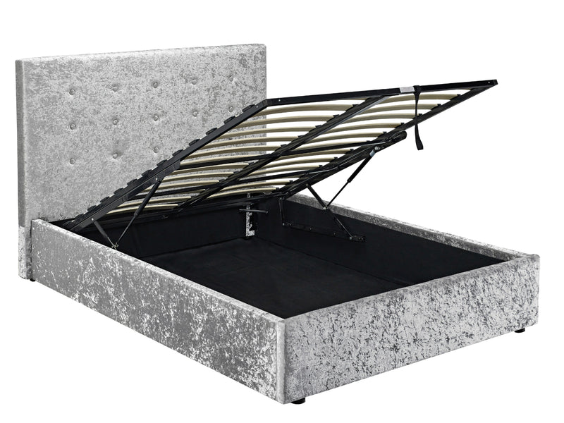 Rimini Ottoman Storage Bed Frame in Crushed Silver