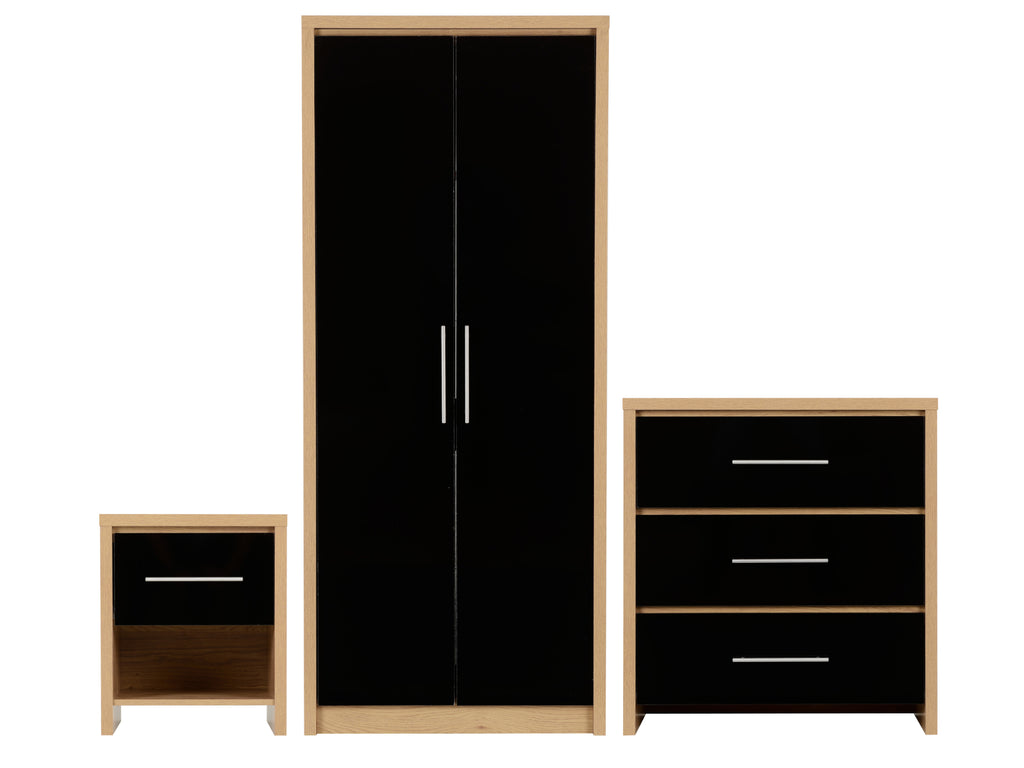 Seville Bedroom Furniture Black Gloss and Oak Effect