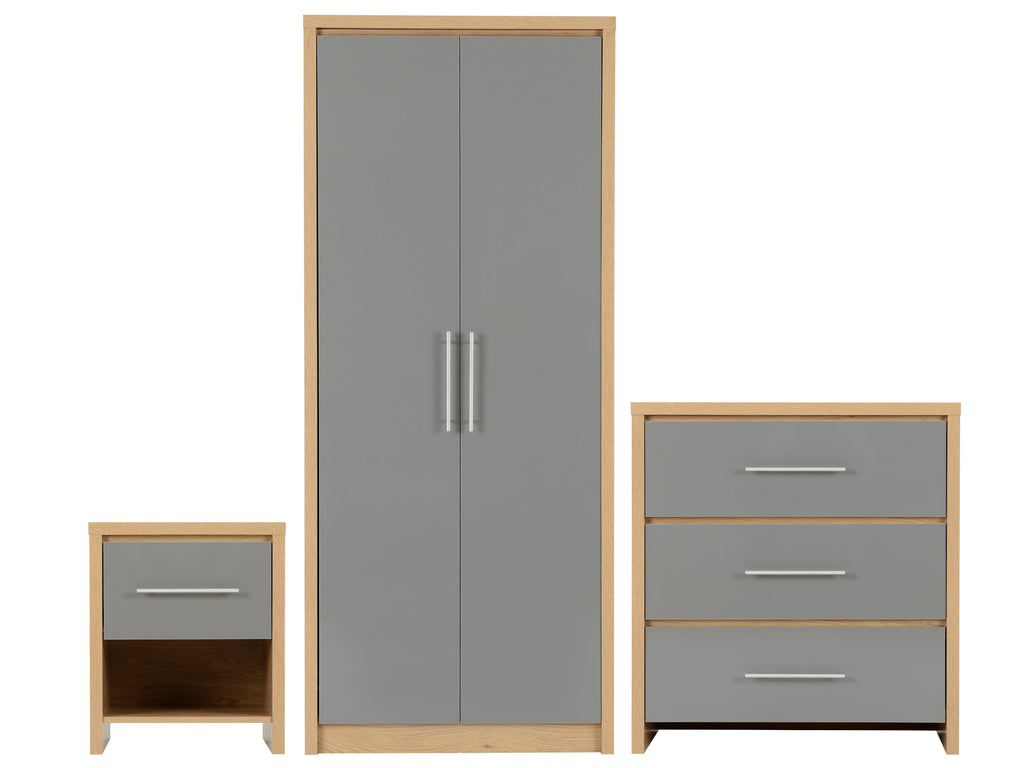 Seville Bedroom Furniture Grey Gloss and Oak Effect
