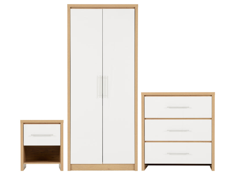 Seville Bedroom Furniture White Gloss and Oak Effect