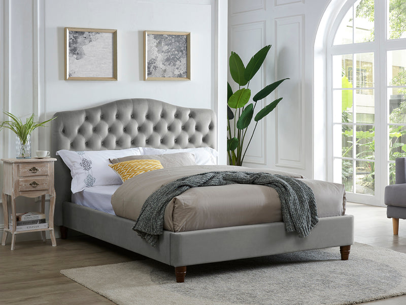 Sorrento Bed Frame in Silver Velvet