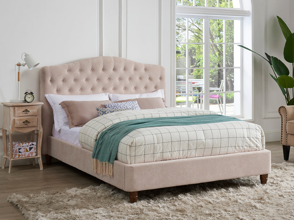 Sorrento Bed Frame in Pink Velvet