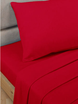 Percale Luxury Fitted Sheet Red