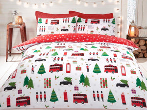 Christmas Collage Bedding Set Multi (reversible)