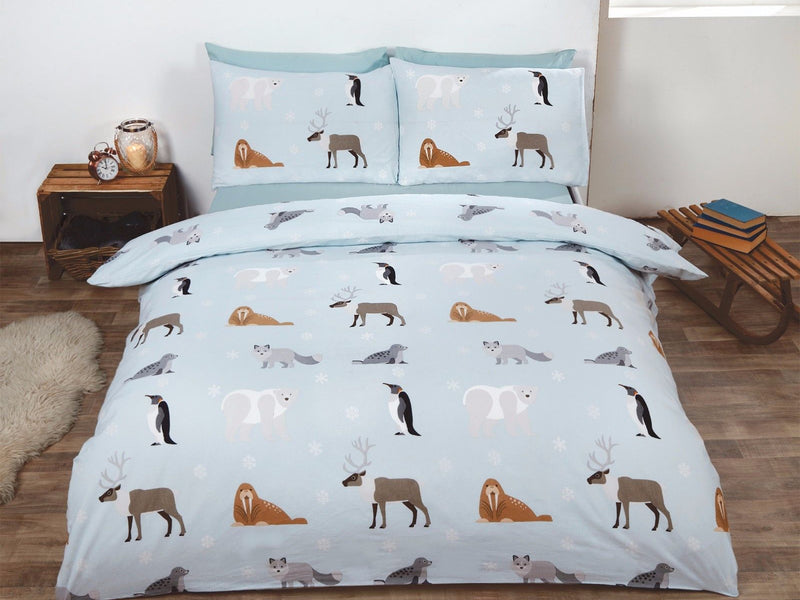 Winter Animals Brushed Cotton Christmas Bedding Set Blue