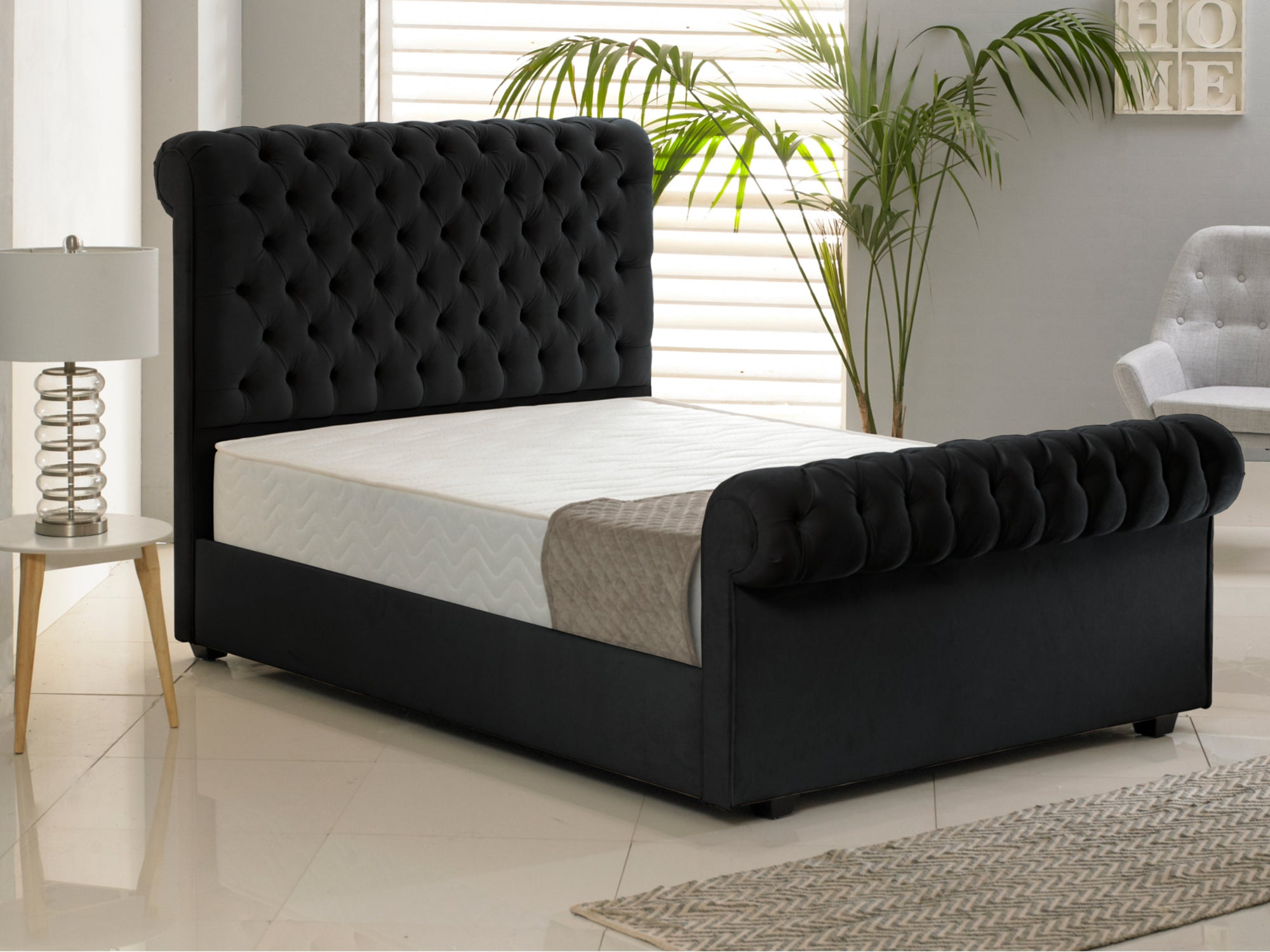 Windsor Luxury Bed Frame In Hercules Black The Cosy Bedding Company