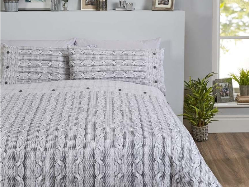 Arran 100% Brushed Cotton  Bedding Set Grey