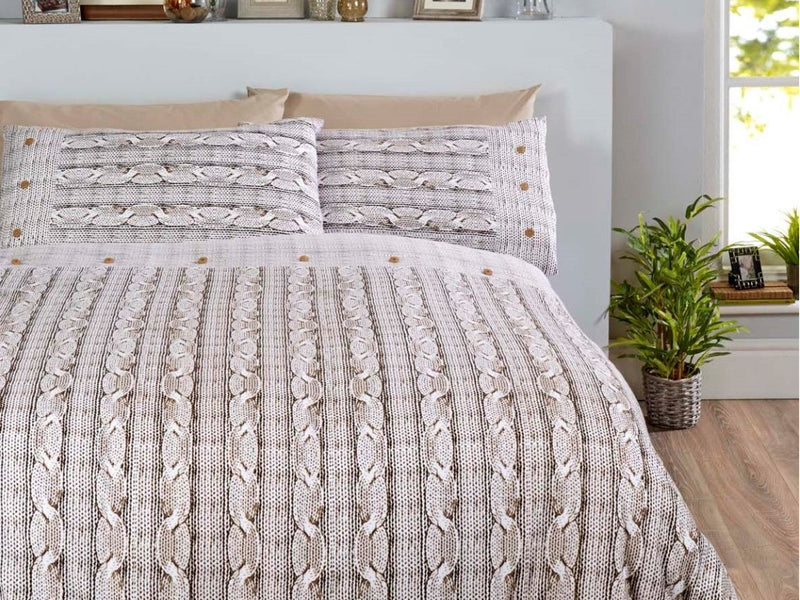 Arran 100% Brushed Cotton  Bedding Set Natural