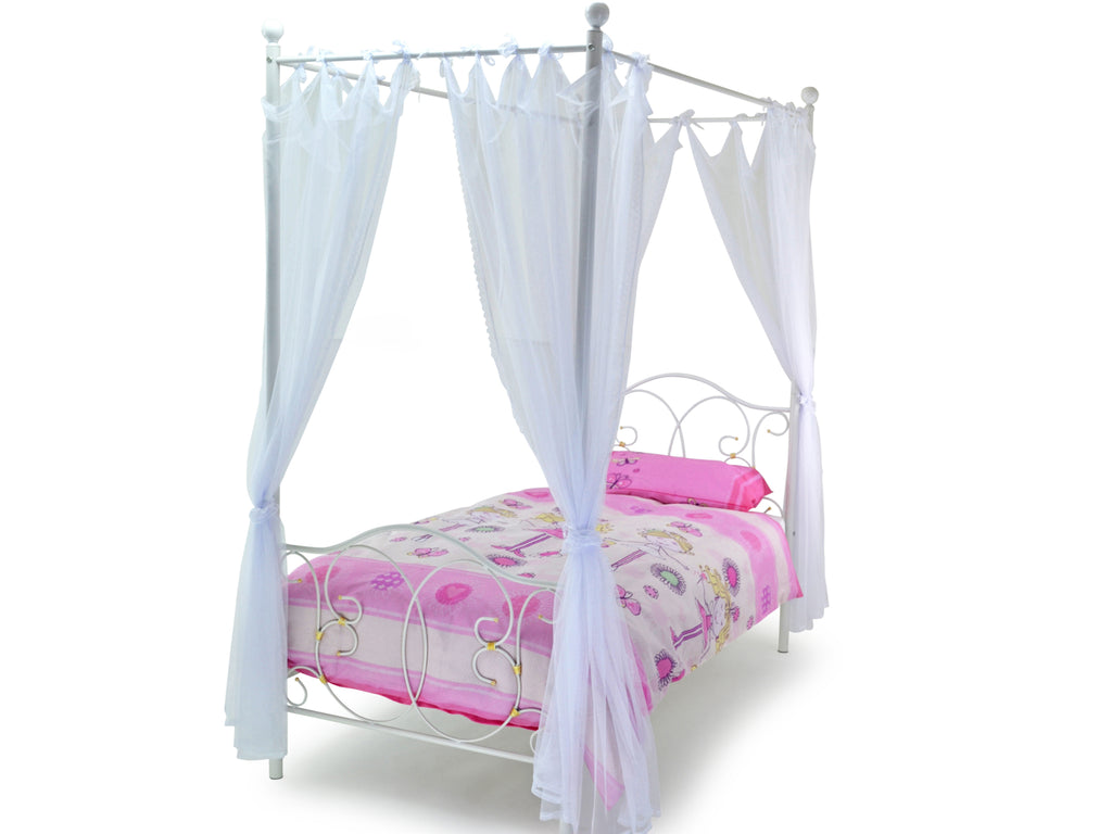 Ballroom Four Poster Metal Bed in White
