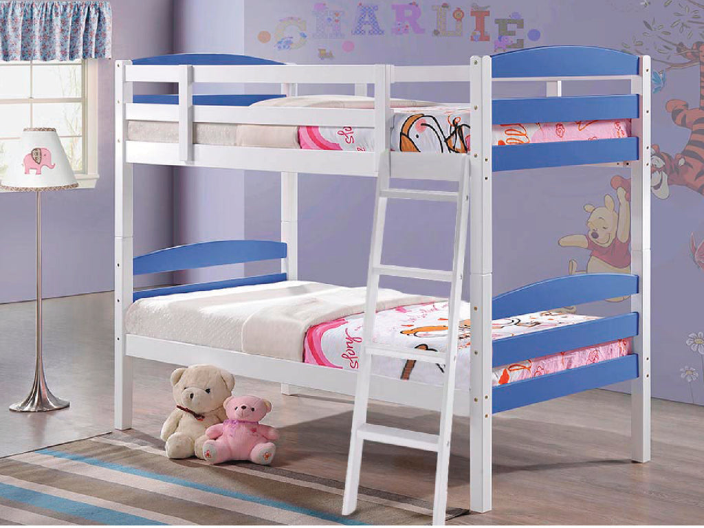 Modella Wooden Bunk Bed in White with Blue Panels
