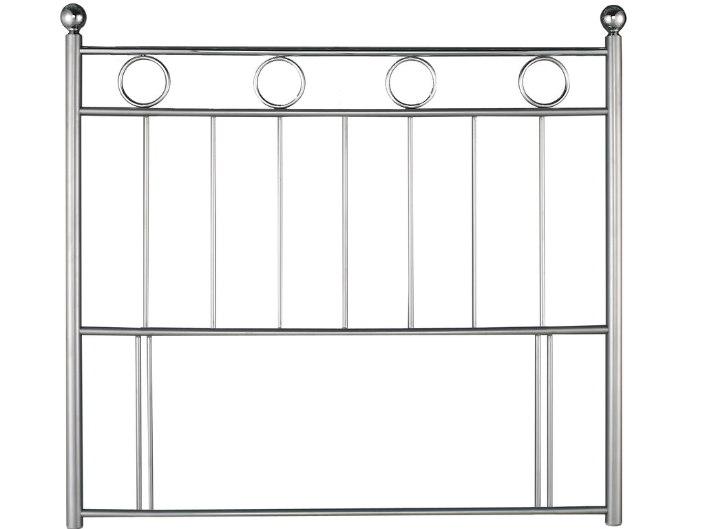 Lonell Metal Floorstanding Headboard Silver and Chrome
