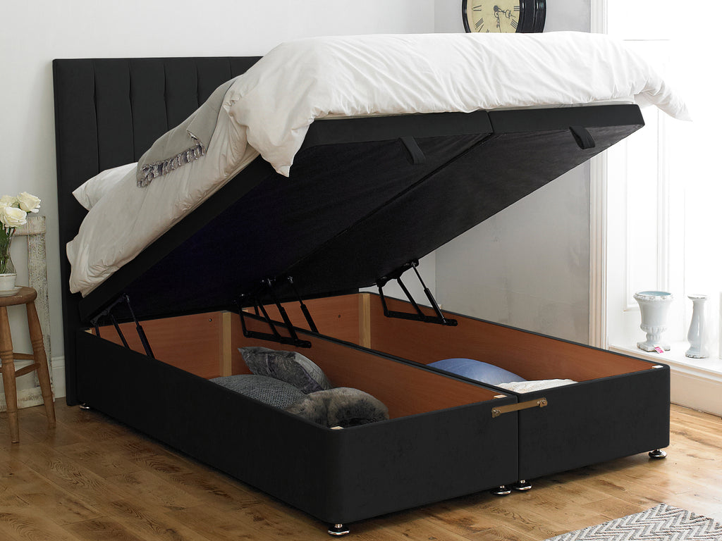 Shelly FS Ottoman Twix Opening Bed Base in Hercules Black